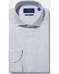 Hardy Amies - Tailored Fit Grey Single Cuff Melange Stripe Shirt - Lyst