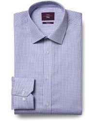 Moss Esq. - Regular Fit Lilac Single Cuff Check Shirt - Lyst
