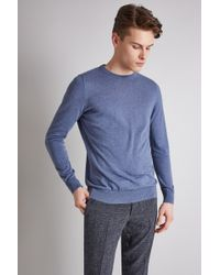 Moss London - Blue Marl Long-sleeve Cotton Crew Neck Jumper - Lyst
