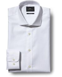 a0651f8b0 Moss Bros - Extra Slim Fit Single Cuff White Egyptian Cotton Textured Shirt  - Lyst