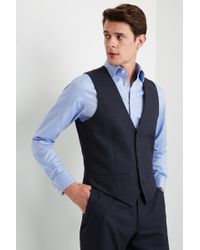 abeff4106d6f Ted Baker - Gold Tailored Fit Airforce Blue Sharkskin Waistcoat - Lyst