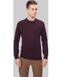 Moss London - Dark Cherry Crew Neck Jumper - Lyst