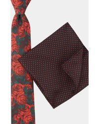 Moss London - Black & Red Rose Tie With Printed Spot Pocket Square Boxed Gift Set - Lyst