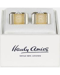 Hardy Amies - Gold Two Tone Textured Cufflinks - Lyst