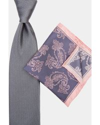 Moss Esq. - Grey & Pink Tie & Pocket Square Set - Lyst