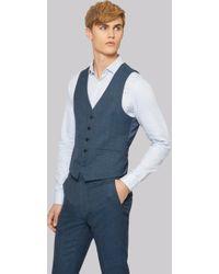 Moss London - Skinny Fit Bright Blue Texture Waistcoat - Lyst