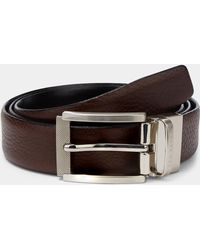 Ted Baker - Chocolate Reva Reversible Textured Leather Belt - Lyst