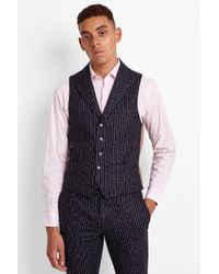 Moss Bros - Skinny Fit Ink Boucle Stripe Waistcoat - Lyst