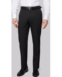 Moss Esq. - Regular Fit Charcoal Birdseye Trousers - Lyst