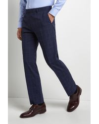 Moss Esq. - Regular Fit Machine Washable Blue Boucle Winowpane Trousers - Lyst