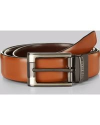 Ted Baker - Tan Reversible Leather Belt - Lyst