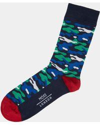 Moss London - Purple Camo Socks - Lyst