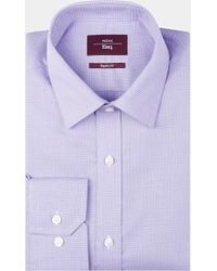 Moss Esq. - Regular Fit Lilac & Blue Single Cuff Textured Shirt - Lyst