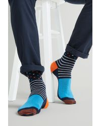 Moss London - Navy With Spots & Stripes Socks - Lyst