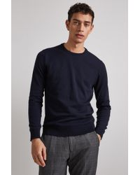 Moss London - Navy Long-sleeve Cotton Crew Neck Jumper - Lyst