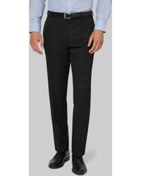 Moss Esq. - Regular Fit Machine Washable Black Trousers - Lyst