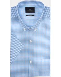 Moss London - Extra Slim Fit Blue Short Sleeve Melange Check Stretch Shirt - Lyst