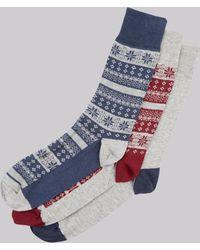 Moss London - Grey Fairisle 3 Pack Socks - Lyst