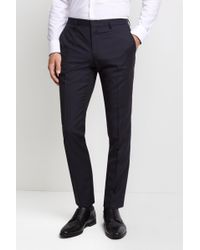 HUGO - Tailored Fit Navy Micro Trousers - Lyst