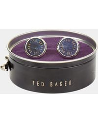 Ted Baker - Andra Navy Round Cufflink - Lyst
