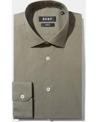 DKNY - Slim Fit Green Single Cuff Stretch Shirt - Lyst