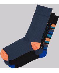 Moss London - Orange Multi 3 Pack Socks - Lyst