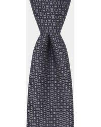 Hardy Amies - Grey & Navy Printed Geometric Tie - Lyst