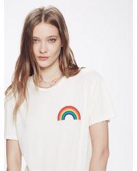 Aviator Nation - Small Rainbow Crew Tee Shirt Vintage White - Lyst