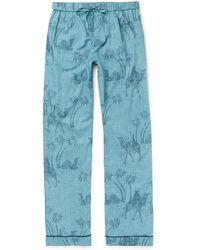 Desmond & Dempsey - Printed Cotton Pyjama Trousers - Lyst