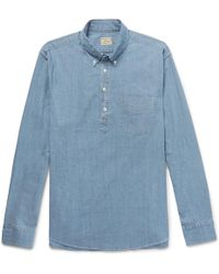 J.Crew - Button-down Collar Stretch-cotton Chambray Half-placket Shirt - Lyst