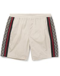 Gucci - Wide-leg Long-length Striped Logo-print Swim Shorts - Lyst