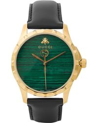 Gucci - Gold Pvd-plated And Leather Watch - Lyst