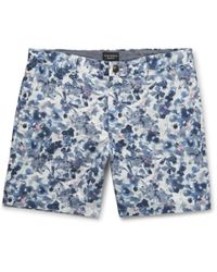 Club Monaco - Baxter Floral-print Linen And Cotton-blend Twill Shorts - Lyst