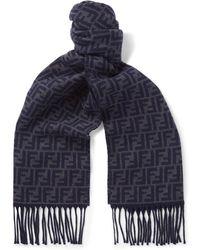 Fendi - Reversible Logo-jacquard Wool Scarf - Lyst