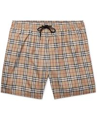 Burberry - Mid-length Checked Swim Shorts - Lyst
