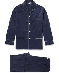 Derek Rose - Royal Pin-dot Cotton-jacquard Pyjama Set - Lyst