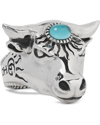 Gucci - Bull's Head Sterling Silver And Glass Ring - Lyst