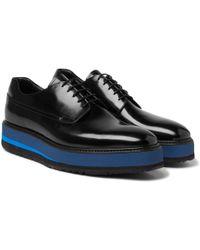 Prada - Spazzolato Leather Derby Shoes - Lyst