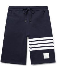 Thom Browne - Striped Loopback Cotton-jersey Shorts - Lyst