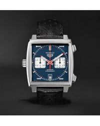 Tag Heuer - Monaco Automatic Chronograph 39mm Steel And Leather Watch - Lyst