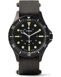Timex - Navi Harbor Stainless Steel And Stonewashed Leather Watch - Lyst