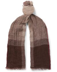 Brunello Cucinelli - Checked Washed Linen And Silk-blend Scarf - Lyst