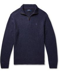Polo Ralph Lauren - Mélange Tussah Silk Half-zip Sweater - Lyst