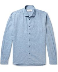 YMC - Button-down Collar Mélange Slub Cotton-blend Shirt - Lyst