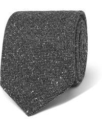 Drake's - 8cm Herringbone Silk And Cotton-blend Tie - Lyst