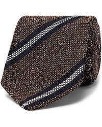 Drake's - 8cm Striped Silk, Linen And Wool-blend Tie - Lyst