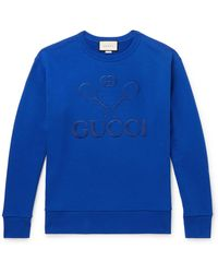 Gucci - Logo-embroidered Loopback Cotton-jersey Sweatshirt - Lyst