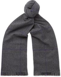 Emma Willis - Fringed Prince Of Wales Checked Wool Scarf - Lyst
