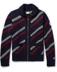 Moncler Gamme Bleu - Jacquard-knit Wool Zip-up Cardigan - Lyst