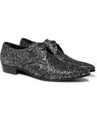 Saint Laurent - Hopper Glittered Leather Derby Shoes - Lyst